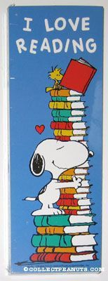 Peanuts Bookmarks | CollectPeanuts.com - Snoopy Hugging Stack of Books