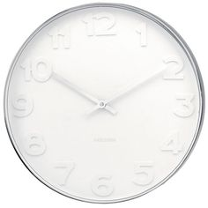 Mr White Numbers Wall Clock - Create a focal point in any room with this large white designer timepiece from Karlsson! The Mr White Numbers Wall Clock dominates the room with this large presence, whilst adding a subtle minimalist style with its all-white face and sleek silver surround. This 51cm clock makes an impressive addition to any wall and never fails to get noticed. Each number is slightly raised, creating a soft contrast with the use of shadows on the matching white face of the…