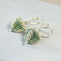 Iris Elm Jewelry: Sage Green and Silver Beaded Triangle Earrings - http://www.iriselmjewelry.com/collections/seed-bead-earrings/products/sage-green-and-silver-beaded-triangle-earrings