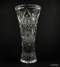 """Vintage Bohemia Lead Crystal Bud Vase 8"""" Tall with Original Label"""