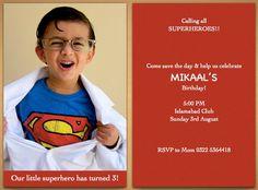 Mikaals bday invites!  superhero themed birthday