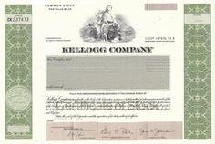 Kellogg Stock Certificate