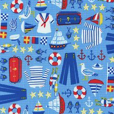 "TIMELESS TREASURES ""NAUTICAL MOTIF"" Blue by yard"