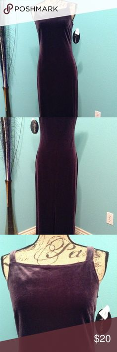 Velveteen stress dress Purple/gray color.  Pullover. Slit on middle bottom of dress.  NWOT My Michelle Dresses Maxi