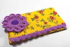 Checkbook cover Yellow Purple French fabric lace by chezviolette www.pinterest.com/cocoflower