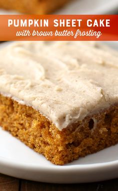 Pumpkin Pie Cake with Brown Butter Frosting Recipe Pumpkin Recipes Free. - Pumpkin Pie Cake with Brown Butter Frosting Recipe Pumpkin Recipes Freestyle sheet cake - Food Cakes, Cupcake Cakes, Köstliche Desserts, Delicious Desserts, Healthy Desserts, Brown Butter Frosting, Pumpkin Sheet Cake, Pumkin Cake, Pumpkin Spice Cake