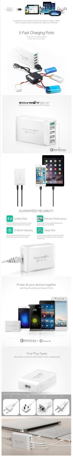 BlitzWolf BW-S7 #Quick #Charge QC3.0 #Adapter #USB #Charger #Smart 5 #Port #Desktop Charger #Mobile Phone #Travel Charger For #Smartphone  #automatic  #voltage  #electronic #Lightweight #stabilizer #power #portable