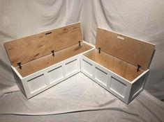 Corner Banquette Bench w/ Top-opening Storage (Painted) Kitchen Corner Bench, Kitchen Benches, Corner Nook, Corner Storage Bench, Corner Bench Seating, Storage Bench Seating, Kitchen Booths, Diy Bench With Storage, Corner Dining Table