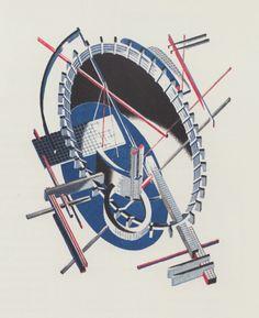 Iakov Chernikhov, Fantasy no.40, complex architectural invention, 1933