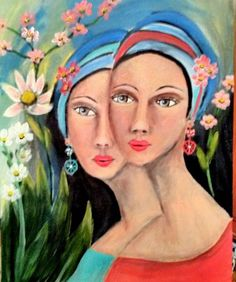 Suzanne Smeets Sorelle Olio Acrilico su legno 40x50