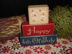 HAPPY 4TH OF JULY Fireworks Watermelon Holiday Seasonal Summer  Wood Sign Shelf Blocks Primitive Country Rustic Home Decor Gift. $24.95, via Etsy.
