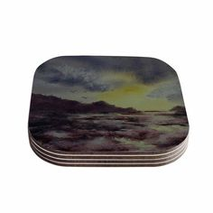 "Cyndi Steen ""Crashing Waves"" Purple Yellow Coasters (Set of 4) - KESS InHouse  - 1"