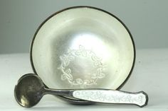 VTG 1950'S MEKA DENMARK STERLING SILVER WHITE ENAMEL SALT DISH CELLAR & SPOON