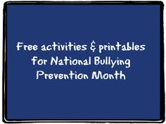 Although October is designated as National Bullying Prevention Month, bullying is understandably an issue that is a concern for educators, parents and students throughout the entire year. Despite the increased focused on bullying, the fact remains that n Anti Bullying Lessons, Anti Bullying Activities, Counseling Activities, Free Activities, Elementary School Counseling, School Social Work, School Counselor, Anti Bullying Campaign, Student Information