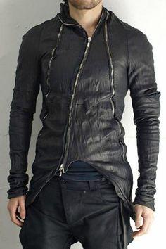 Black obscur zippered washed custom made lamb leather jacket men& 2016 Dark Fashion, Leather Fashion, Leather Men, Leather Jacket, Mens Fashion, Jacket Men, Looks Style, My Style, Apocalyptic Fashion