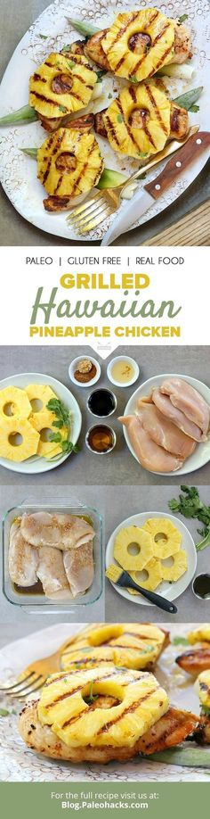Whisk your senses away with the sweet flavors of pineapple over juicy grilled chicken. Get the recipe here: Grilling Recipes, Paleo Recipes, Real Food Recipes, Chicken Recipes, Cooking Recipes, Zuchinni Recipes, Lasagna Recipes, Spinach Recipes, Steak Recipes