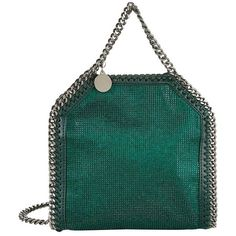 Stella McCartney Tiny Falabella Crystal Tote ($995) ❤ liked on Polyvore featuring bags, handbags, tote bags, green purse, stella mccartney handbags, mini purses, over the shoulder purse and chain purse