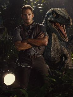 Here is a Brand NEW ! Still pic from Jurassic World Featuring Chris Pratt and a Animatronic Velociraptor. Jurassic World hits the big screen on June 2015 ! Jurassic World Chris Pratt, Jurassic World Movie, Blue Jurassic World, Jurassic World Fallen Kingdom, Jurassic World Videos, Star Lord, Thriller, Silviu Tolu, The Blues Brothers