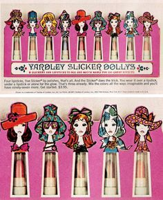 """November 1967. """"Slicker Dollys"""", a set of mix-and-match lipsticks and glossies from Yardley cosmetics, complete with ridiculously cute illustrated packaging. See more: Flashback to *67"""