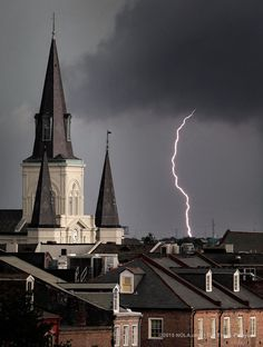 Lightning strikes over the St. Louis Cathedral in the New Orleans French Quarter during a thunderstorm Monday, May 18, 2015. (Photo by David Grunfeld, NOLA.com | The Times-Picayune)