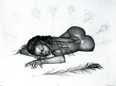 Black Erotic Art - Feather - Merrill Robinson