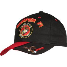 HAT WITH USMC Emblem Gold and Silver Matellic Thread Low  Profile Style Khaki