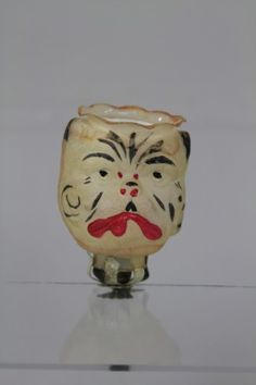 "Germany, glass bulldog head candle holder on clip, hand painted and blown glass ornament, strong overall coloring with great detail to the face. 3 1/2"". (Exc. Cond.)"