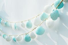 Seashell Garland Beach room Decorations Blue and by Seagypsys