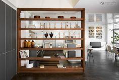 Utilizar estantes como divisórias é uma excelente opção para criar diferentes espaços em divisões amplas e multifuncionais