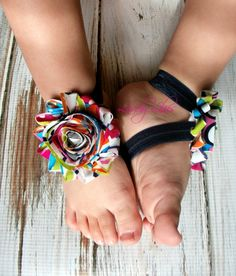 Baby Barefoot Sandals .. Colorful Flowers .. Toddler Sandals .. Newborn Sandals .. Flower Sandals