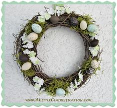 You can display this versatile wreathe all throughout spring. The pastel eggs are subtle enough to decorate your door even after Easter is over. Get the tutorial from A Little Claireification »  - GoodHousekeeping.com