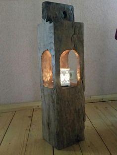 Kerzenständer - Alteiche Windlicht Holzstele Teelicht Holzbalken  - ein Designerstück von Minnekenhus-Design bei DaWanda