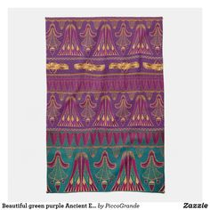 Beautiful green purple Ancient Egyptian pattern Kitchen Towel Egyptian Scarab, Purple Aesthetic, Border Design, Kitchen Towels, Green And Purple, Art Deco Fashion, Gifts For Family