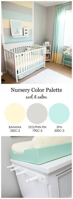 Cool and Calm, Gender Neutral Nursery - love the mint green, gray and light yellow color scheme!