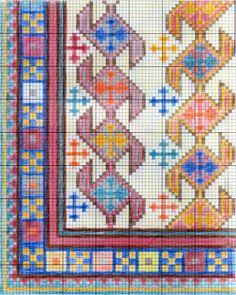 Bordar, Tejer y Algo Mas...: Alfombras y Cojines Weaving Patterns, Cross Stitch Patterns, Quilt Patterns, Cross Stitch Borders, Cross Stitching, Tapete Floral, Cross Stitch Freebies, Crochet Mouse, Folk Embroidery