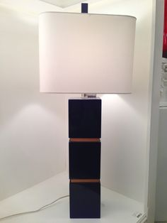 Navy Lacquer and wood inset detail lamp by Couture Lamps http://www.couturelamps.com/ - night stand lamp idea