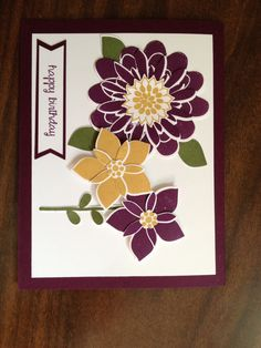 Stampin' Up! Flower Patch stamps and die cuts.