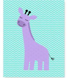 Giraffe Nursery Art Aqua and Purple Nursery by SweetPeaNurseryArt
