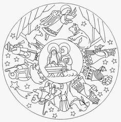 Nativity Mandala Coloring Pages Nativity Coloring Pages, Bible Coloring Pages, Mandala Coloring Pages, Christmas Coloring Pages, Animal Coloring Pages, Coloring Pages For Kids, Coloring Books, Colouring, Free Coloring