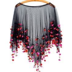 It's Raining Roses Fringe Beaded Sheer Poncho Boho Romance in... ($119) ❤ liked on Polyvore featuring outerwear, tops, fringed cape, poncho cape coat, poncho cape, style poncho and cape poncho