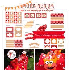 Printable Party Shop www.printablepartyshop.com Elmo Kids Birthday party ideas, decorations, printables, designs  Kids birthday, first birthday, Elmo theme