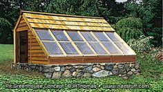 Perfect architecture for a passive solar greenhouse with or without a pit. This is successful design as it isn't over glazed and it is insulated. Learn more.
