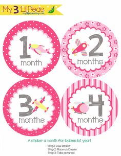 Pink Airplanes Monthly Onesie Stickers Light Pink Yellow Grey Gray - http://www.gifts-for-baby.net/pink-airplanes-monthly-onesie-stickers-light-pink-yellow-grey-gray/