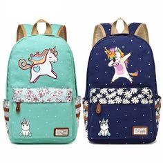 Buy WISHOT cute unicorn Dab cartoon Backpack For Women Girls Canvas bag Flowers wave point Rucksacks backpack travel Shoulder Bag Big Unicorn, Unicorn Print, Unicorn Birthday, Cartoon Unicorn, Rainbow Unicorn, Funny Unicorn, Girl Cartoon, Rucksack Backpack, Canvas Backpack
