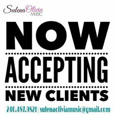 Now accepting new clients. Schedule your next 1-on-1 weekly 3D Vocalist Training (offered live-in-person and virtually), AMP(Artist Mastery Preparation; 90 mins of intense training) Training session, and VIP (Vocalist Institute Program; for large groups).  240.487.9821 sulenaoliviamusic@gmail.com http://facebook.com/SulenaOliviaMusic  #MusicEducation #SOMusic #music #singing #singinglessons #vocalcoach #vocaledu #vocaltraining #learnhowtosing #caricole #singingsuccess #brettmanning