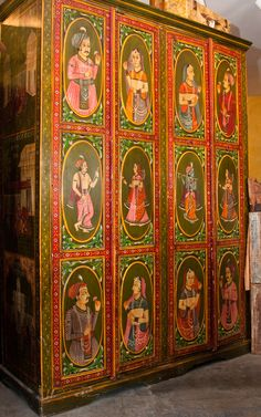 Hand Painted Royal Indian Cabinet with Portrait Panels