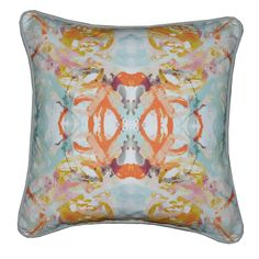411-2 Coral Blush Turquoise Pillow