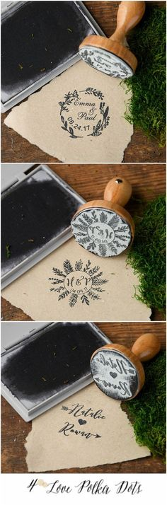 Wooden Wedding custom stamps #wood #wooden #stamp #DIY #weddingideas #boho #bohemian #wreath #leaves #romantic #creative #eco
