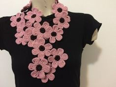 Crocheted flower scarf necklace lariat in pink and brown.  Every age and every season.  It fits all size.  Ready to ship.