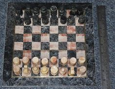 Onyx & marble chess set #board & #pieces with brass inlay boxed #table top game,  View more on the LINK: 	http://www.zeppy.io/product/gb/2/111979186960/